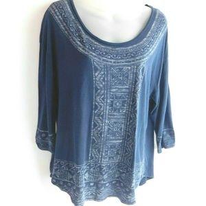 Lucky Brand Womens T Shirt Top Large Blue